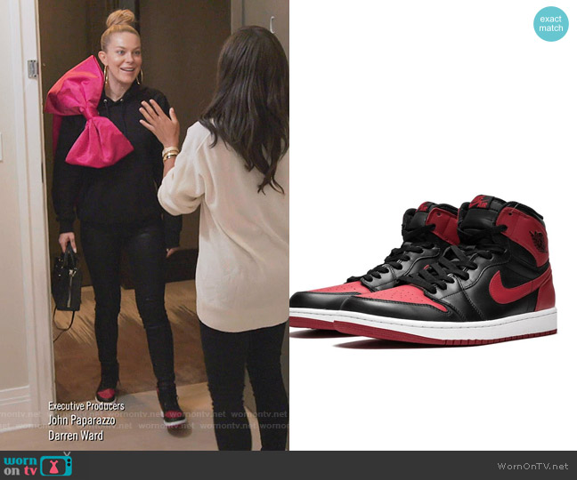 Air Jordan 1 Retro High OG bred by Jordan worn by Leah McSweeney  on The Real Housewives of New York City