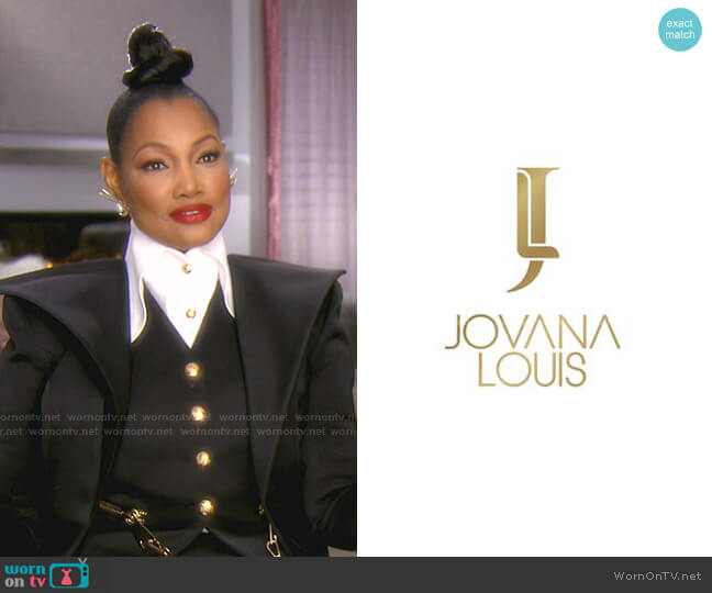 Button Top and Three Piece Suit by Jovana Louis by Jovana Louis worn by Garcelle Beauvais  on The Real Housewives of Beverly Hills