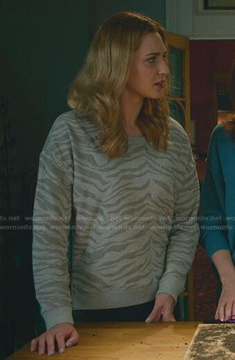 Joy's grey zebra sweatshirt on Good Witch