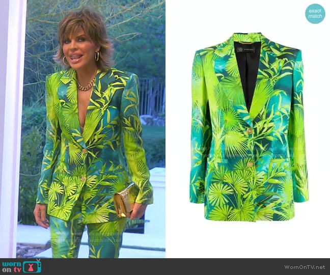 Jungle Print Blazer by Versace worn by Lisa Rinna  on The Real Housewives of Beverly Hills