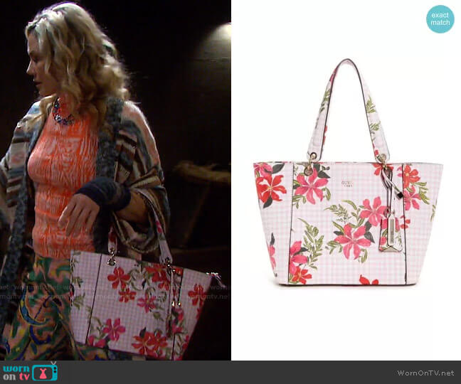 Kamryn Gingham Floral Tote by Guess worn by Kristen DiMera (Stacy Haiduk) on Days of our Lives