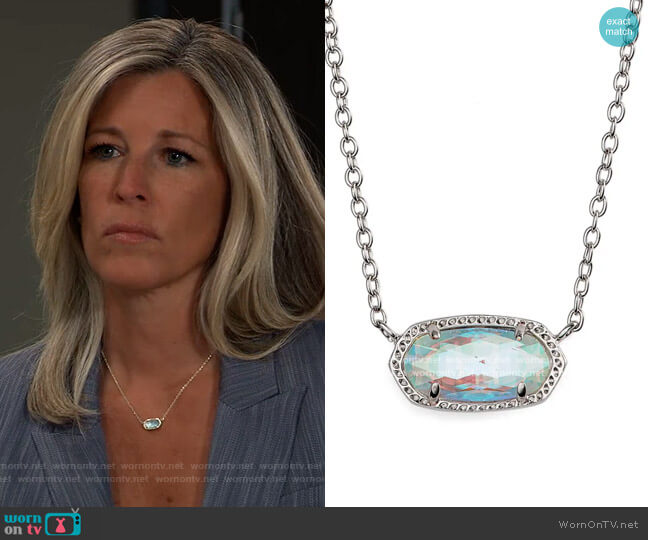 Elisa Birthstone Pendant Necklace by Kendra Scott worn by Carly Corinthos (Laura Wright) on General Hospital