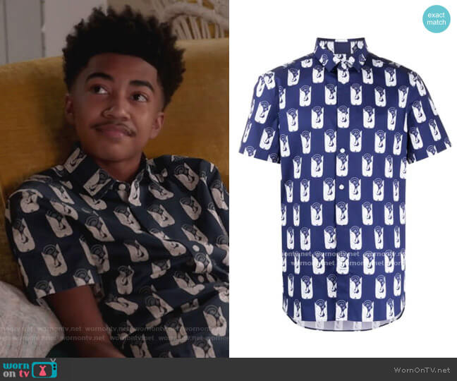 Shrimps slim-fit shirt by Kenzo worn by Jack Johnson (Miles Brown) on Blackish