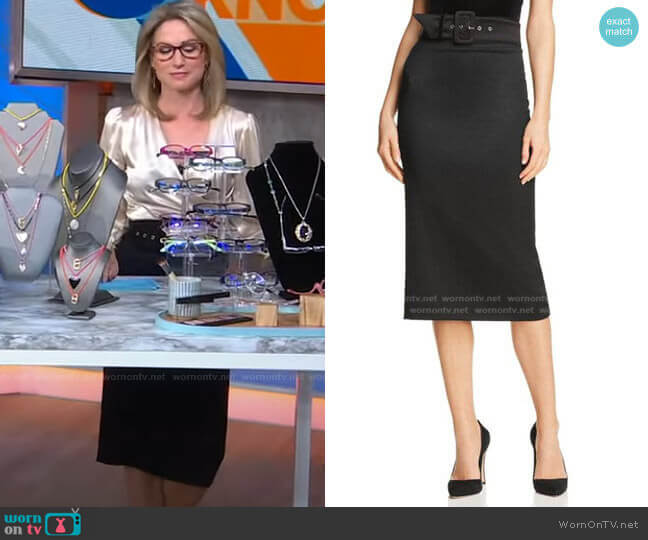 Kerstin Belted Pencil Skirt by Alice + Olivia worn by Amy Robach  on Good Morning America
