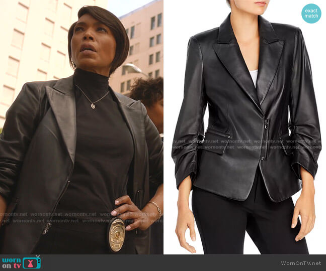 Caden Leather Blazer by Kobi Halperin worn by Athena Grant (Angela Bassett) on 9-1-1