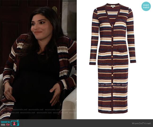 Lurex Striped Cardigan by L'Agence worn by Brook Lynn Quartermaine (Amanda Setton) on General Hospital