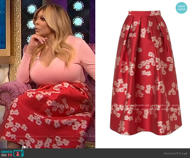 Sana Jacquard Social Skirt by L.K. Bennett worn by Wendy Williams  on The Wendy Williams Show