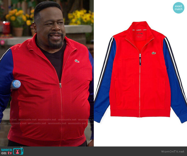 Lacoste Color Block Full-Zip Track Jacket worn by Calvin (Cedric The Entertainer) on The Neighborhood