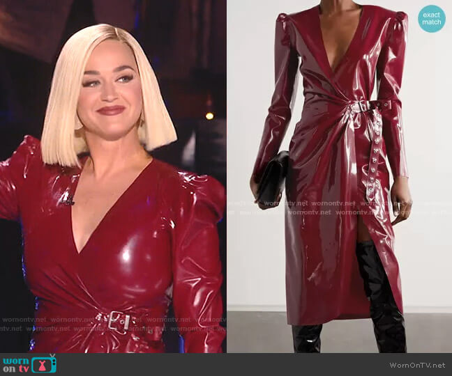 Latex Midi Wrap Dress by Saint Laurent worn by Katy Perry  on American Idol