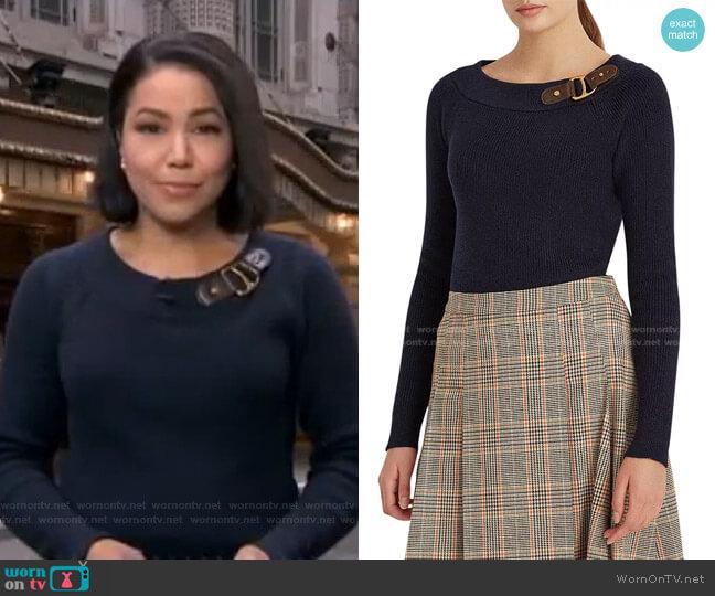 Buckled Cotton Cardigan Sweater by Lauren Ralph Lauren worn by Stephanie Ramos  on Good Morning America