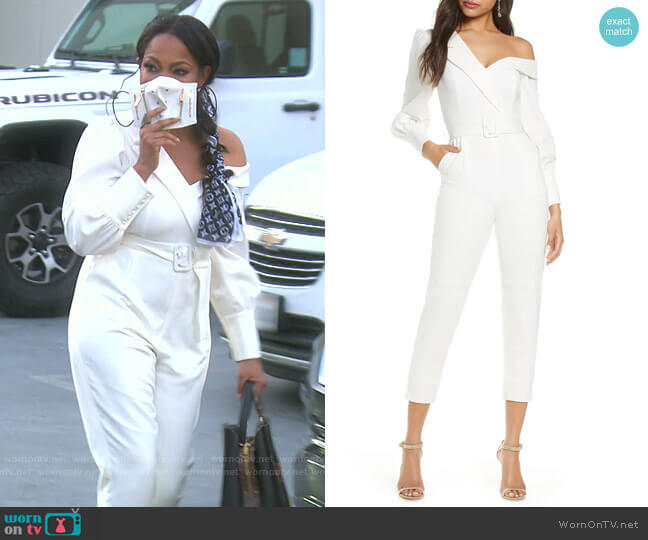 Tailored Long Sleeve One-Shoulder Jumpsuit by Lavish Alice worn by Garcelle Beauvais  on The Real Housewives of Beverly Hills