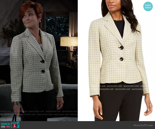 Tweed-Jacket Pants Suit by Le Suit worn by Carolyn Hennesy on General Hospital