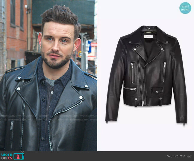 Leather Moto Jacket by Saint Laurent worn by Nico Tortorella on Younger