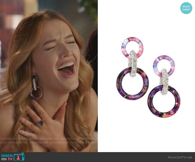 Crystal & Acetate Triple Hoop Earrings by Lele Sadoughi worn by Kirby Anders (Maddison Brown) on Dynasty
