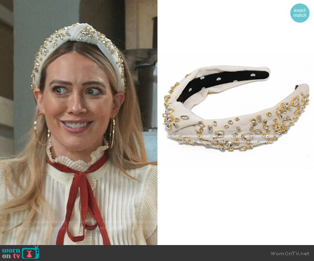 Mixed Crystal Headband by Lele Sadoughi worn by Kelsey Peters (Hilary Duff) on Younger