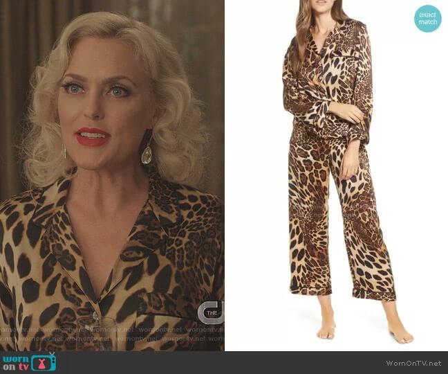Leopard Print Satin Pajamas by Natori worn by Alexis Carrington (Elaine Hendrix) on Dynasty