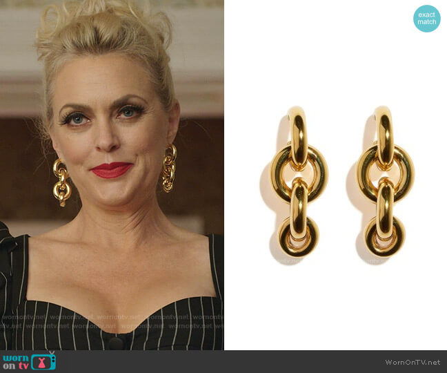Gold-Tone Nonna Rosa Earrings by Lizzie Fortunato worn by Alexis Carrington (Elaine Hendrix) on Dynasty