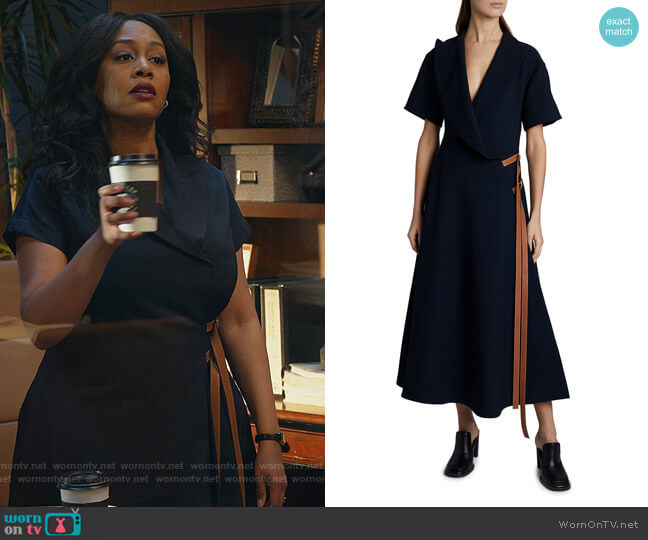 Short-Sleeve Wrap Dress with Leather Straps by Loewe worn by Lola Carmichael (Simone Missick) on All Rise