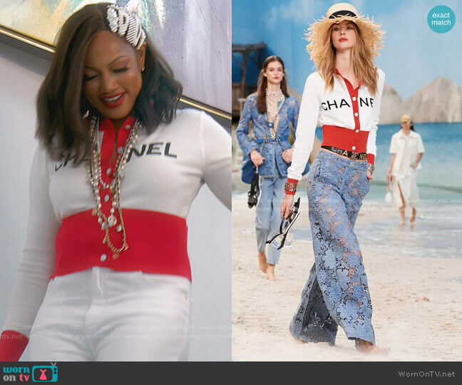 Cotton Cardigan by Chanel worn by Garcelle Beauvais  on The Real Housewives of Beverly Hills