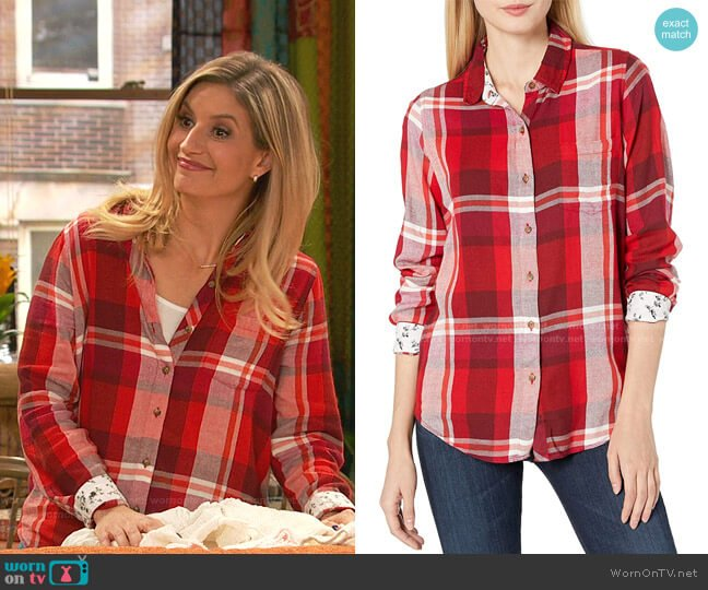 Button Up Plaid Shirt by Lucky Brand worn by Chelsea Grayson (Anneliese van der Pol) on Ravens Home