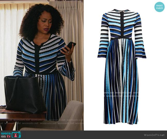 Maya striped midi dress by Mary Mare worn by Lola Carmichael (Simone Missick) on All Rise
