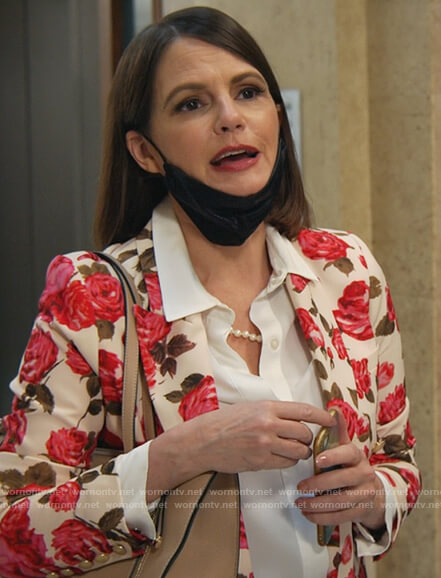 Maggie's rose print blazer on All Rise