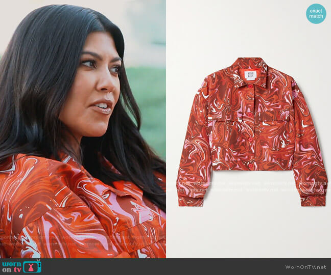 Club cropped printed shell jacket by Maisie Wilen worn by Kim Kardashian  on Keeping Up with the Kardashians