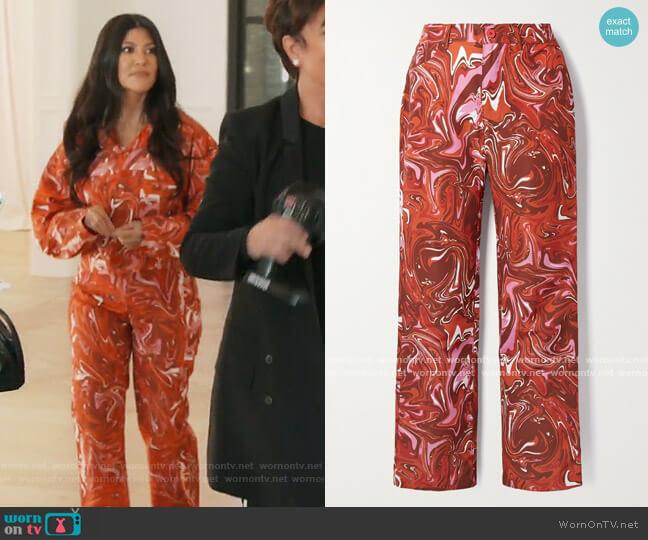 Jet printed shell straight-leg pants by Masie Wilen worn by Kim Kardashian  on Keeping Up with the Kardashians