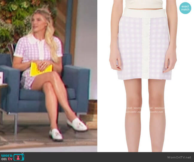 Gingham Lace Miniskirt by Maje worn by Amanda Kloots  on The Talk