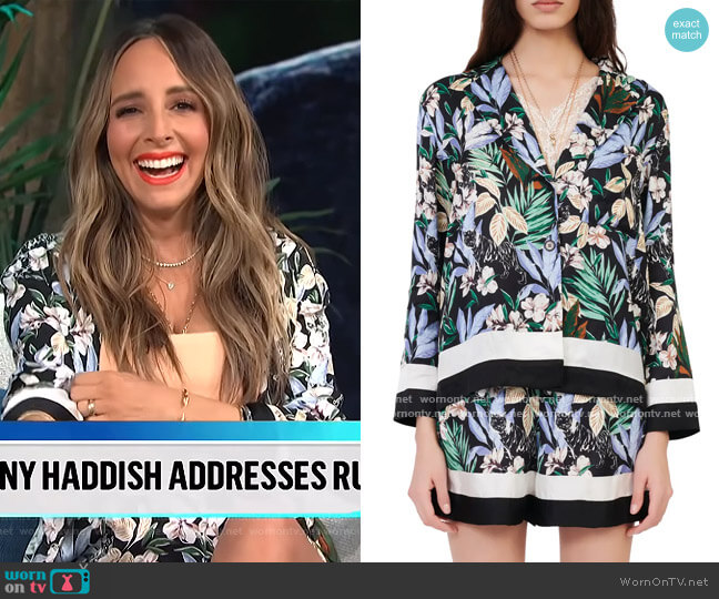 Icioni Floral Jacket and Shorts by Maje worn by Lilliana Vazquez  on E! News
