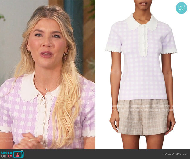 Plaid Short Sleeve Sweater by Maje worn by Amanda Kloots  on The Talk