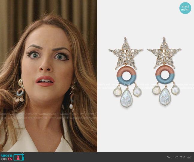 Crystal Embellished Star Drop Earrings by MaryJane Claverol worn by Fallon Carrington (Elizabeth Gillies) on Dynasty