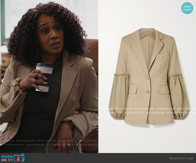 Pasta Jacket by Max Mara worn by Lola Carmichael (Simone Missick) on All Rise