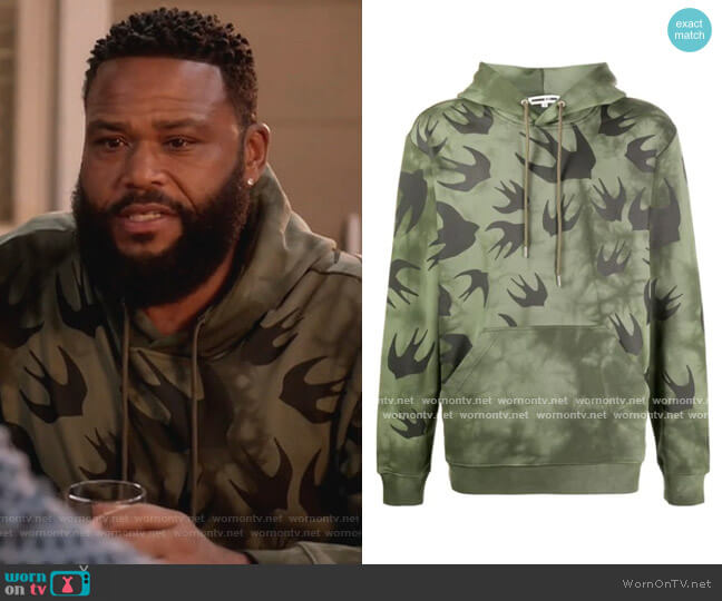 Bird Print Hoodie by McQ Swallow worn by Andre Johnson (Anthony Anderson) on Blackish