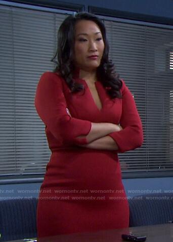 Melinda's red v-neck dress on Days of our Lives