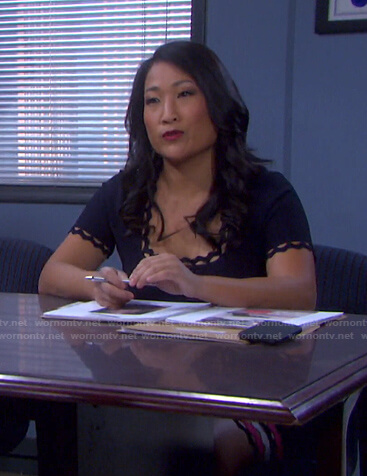 Melinda's navy scalloped dress on Days of our Lives