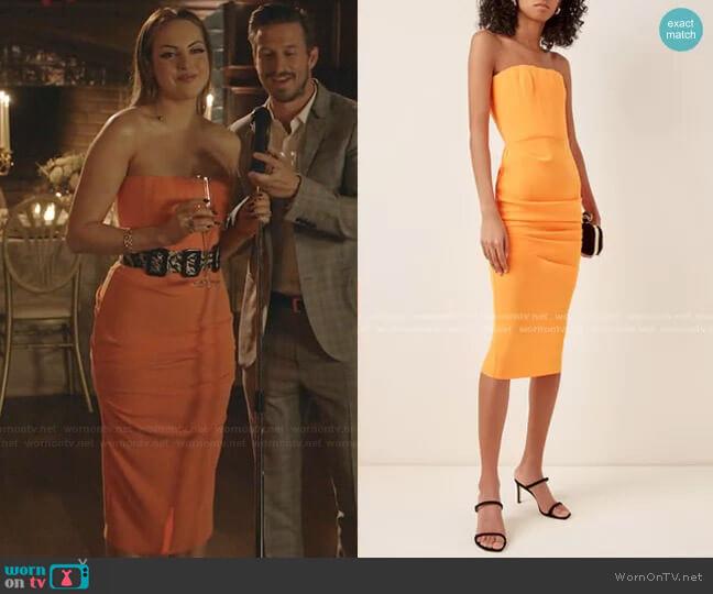 Mena Strapless Gathered Crepe Midi Dress In Orange by Alex Perry worn by Fallon Carrington (Elizabeth Gillies) on Dynasty