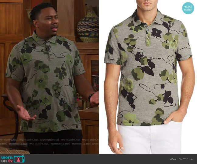 Michael Kors Floral Polo Shirt worn by Marty (Marcel Spears) on The Neighborhood