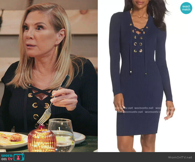 Lace-Up Rib Sweater Dress by Michal Michal Kors worn by Ramona Singer  on The Real Housewives of New York City