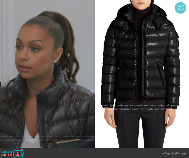 Bady Water Resistant Hooded Down Puffer Coat by Moncler worn by Eboni K. Williams (Ebony K. Williams) on The Real Housewives of New York City