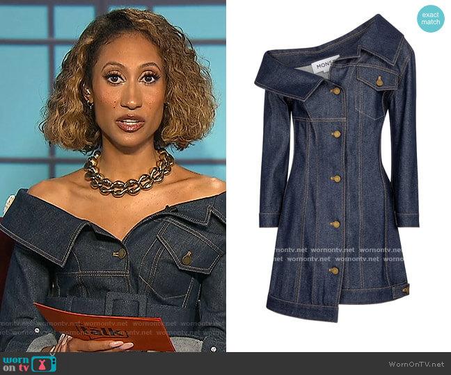 Off-shoulder denim minidress by Monse worn by Elaine Welteroth  on The Talk