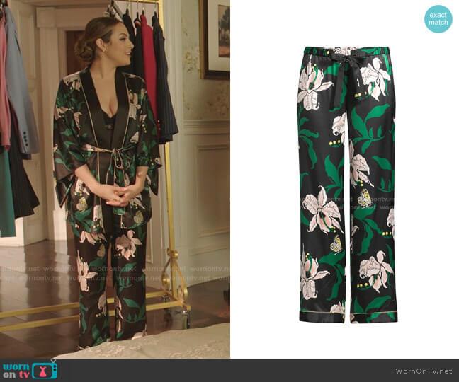 Chantal Lily Print Pajama Pants by Morgan Lane worn by Fallon Carrington (Elizabeth Gillies) on Dynasty