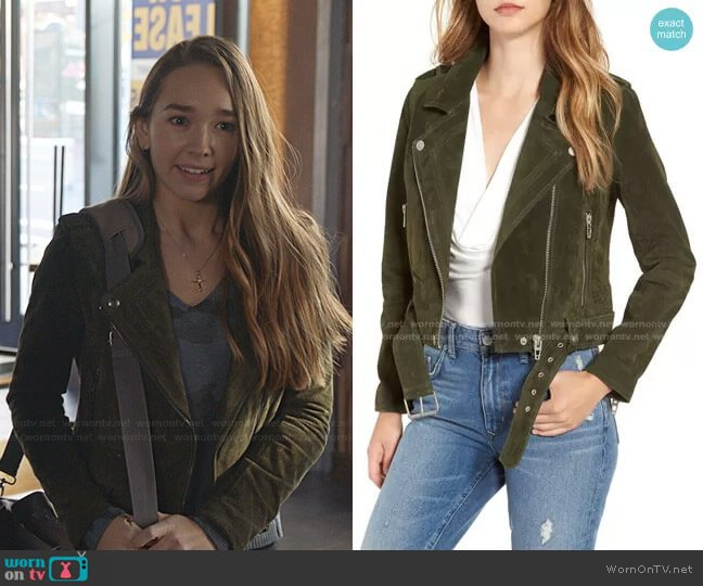 Morning Suede Moto Jacket by Blank NYC worn by Angelina Meyer (Holly Taylor ) on Manifest