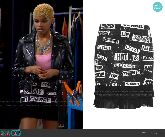 Moschino Georgette-trimmed printed cotton-blend mini skirt worn by Paris Buckingham (Diamond White) on The Bold & the Beautiful