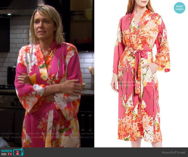 Painted Bouquet Satin Long Wrap Robe by N by Natori worn by Nicole Walker (Arianne Zucker) on Days of our Lives