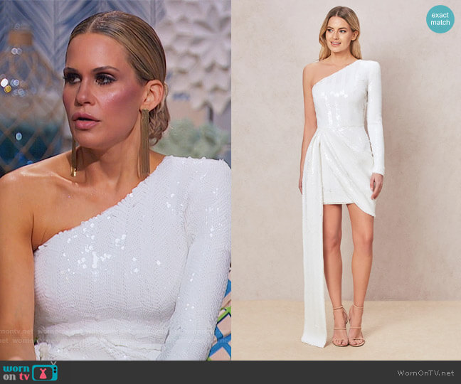 Celline White Dress by Nadine Merabi worn by Jackie Goldschneider  on The Real Housewives of New Jersey