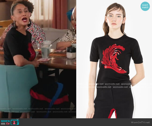 Surfer Sequin Embroidery Sweater by N.21 worn by Rainbow Johnson (Tracee Ellis Ross) on Blackish