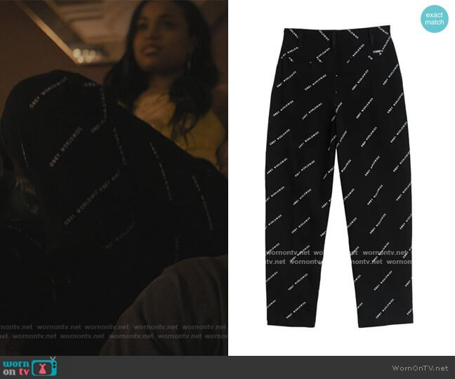 Fulton Baggy Logo Printed Pants by Obey worn by Hannaha Hall on The Chi