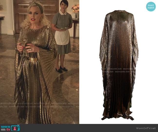 Metallic Lamé Pleated Caftan by Oscar de la Renta worn by Alexis Carrington (Elaine Hendrix) on Dynasty