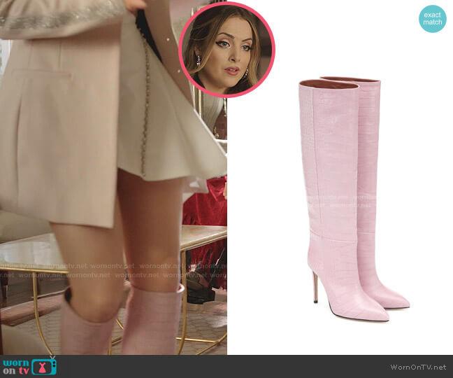 Croc-Effect Leather Knee Boot by Paris Texas worn by Fallon Carrington (Elizabeth Gillies) on Dynasty